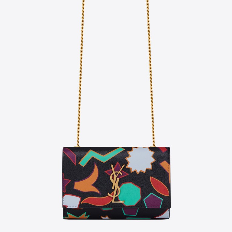 384ad7094bc7 Saint Laurent small Kate chain bag in multicolour printed black leather