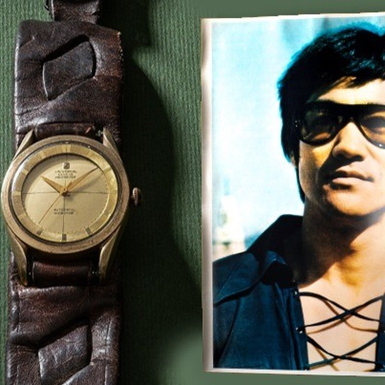 104b8c72f9be Bruce Lee's watch and his photo circa 1972 accompanying the timepiece.  Photo: phillips.