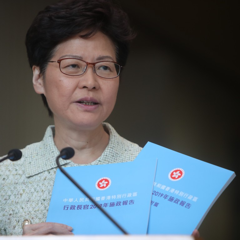 Chief Executive Carrie Lam chose a sky-blue colour for her policy address in the hopes that blue skies will be returning to Hong Kong soon. Photo: Winson Wong