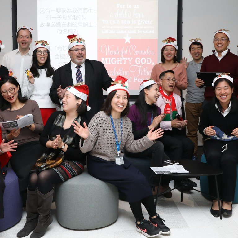 Participants in carolling event held by KPMG in Wong Chuk Hang. Photo: K. Y. Cheng