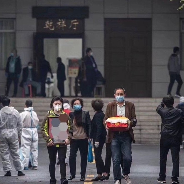 Thousands of people across Wuhan were this week finally allowed to collect the ashes of the loved ones they lost to Covid-19. Photo: Weibo