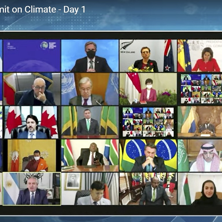 World leaders participate in the White House Climate Leaders Summit via a Zoom call in April. Photo: AP