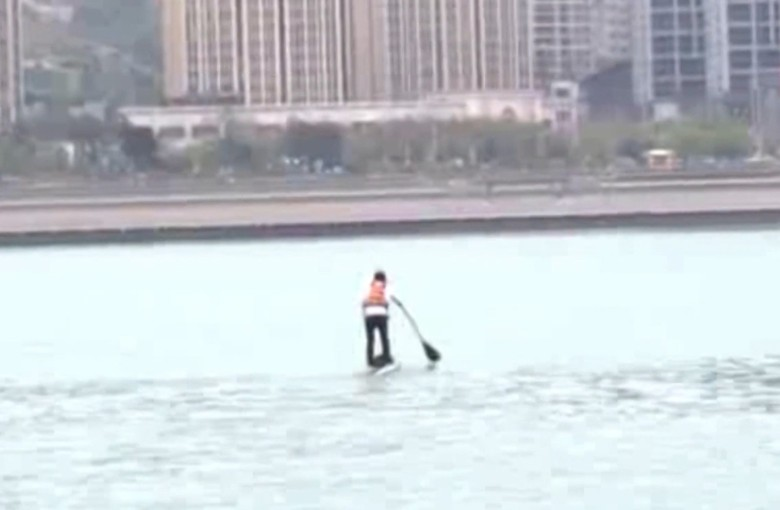 The man who paddles to work