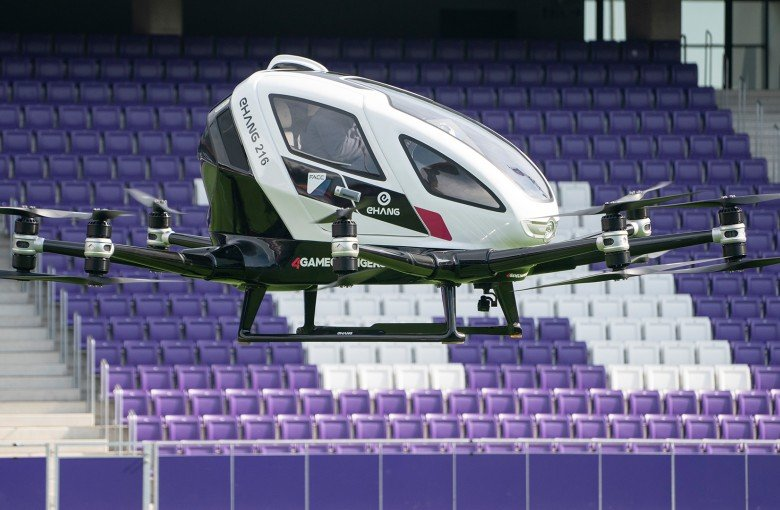 Chinese pilotless flying taxi takes off