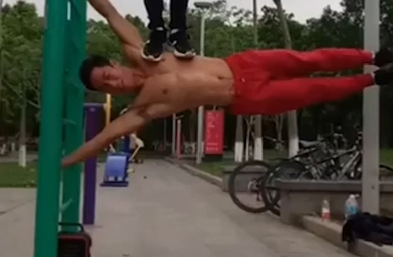 Fitness buff defies gravity