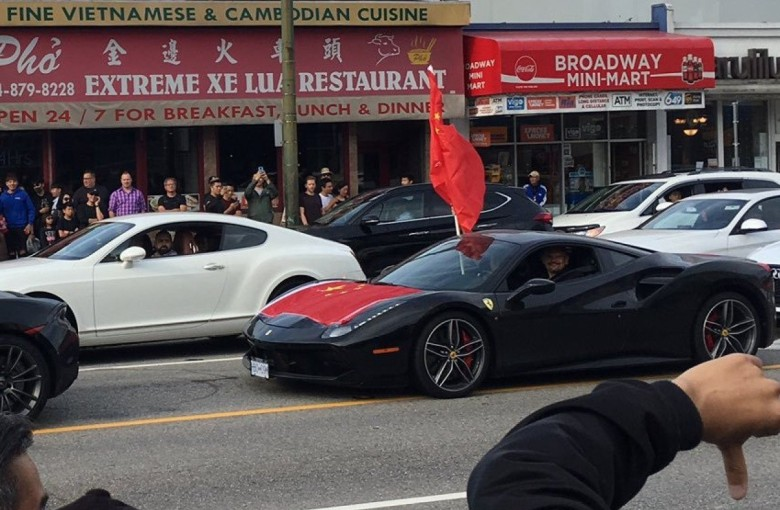 Ferrari-driving Chinese patriots rev up protests in Canada