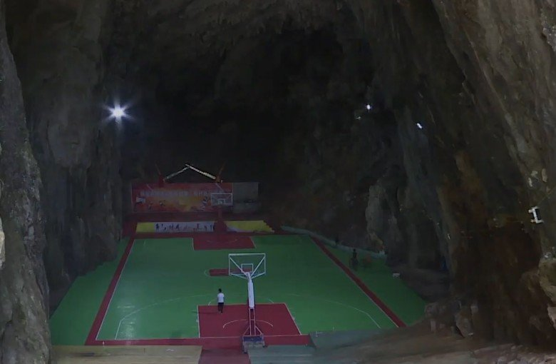 Playing basketball in a cave