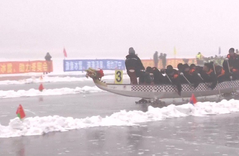 Ice dragon boat racing in China