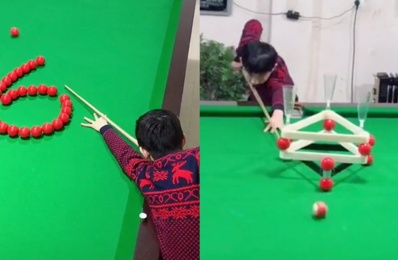 Chinese boy becomes online star for his mad snooker skills