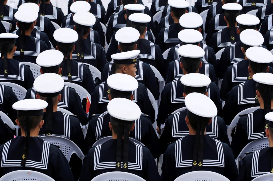 929f657072c Chinese navy personnel attend an event celebrating the 70th anniversary of  the founding of the Chinese