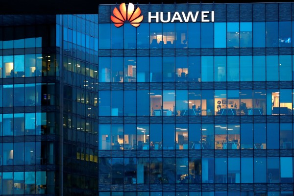 A Huawei logo at the company's French headquarters in Boulogne-Billancourt near Paris on February 17, 2021. Photo: Reuters