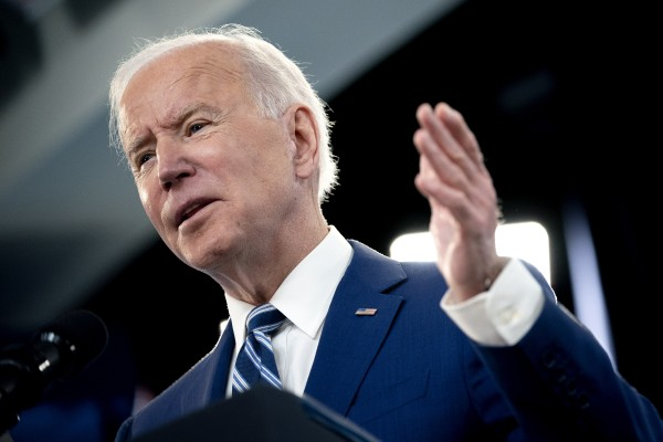 US President Joe Biden speaks in  Washington on Monday. Photo: Bloomberg