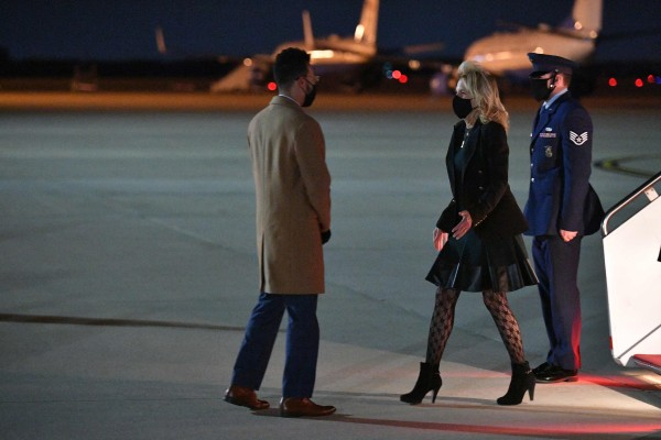 Jill Biden at Andrews Air Force Base in Maryland on April 1. The wife of US President Joe Biden has sparked an online debate over her patterned tights. Photo: AFP