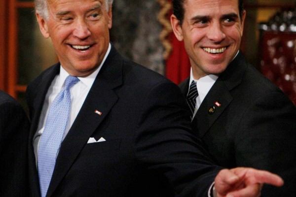 A 2009 photo of then-Democratic presidential nominee Joe Biden with his son, Hunter Biden, in Washington. Hunter's memoir Beautiful Things was released on April 6. Photo: AP