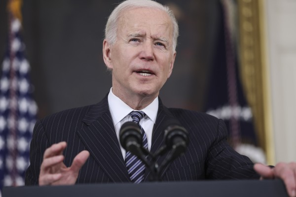 US President Joe Biden speaks at the White House on Tuesday. Photo: Bloomberg