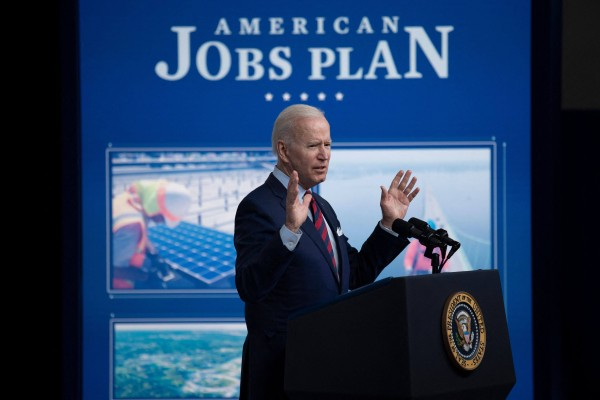US President Joe Biden speaks about proposed infrastructure investment on Wednesday in Washington. Photo: AFP