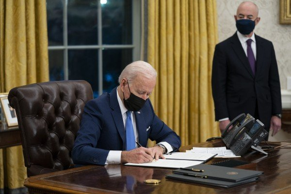 Joe Biden at the Oval Office of the White House in Washington in February. Photo: AP