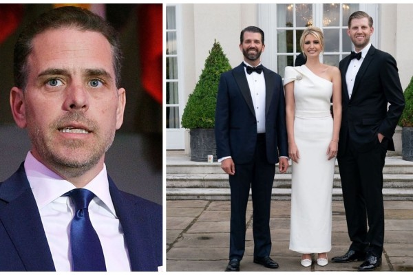 The feud between US President Joe Biden's son Hunter Biden, left, and Trump kids Donald Trump Jr, Ivanka Trump and Eric Trump continues. Photo: @slimefin/ Twitter, @erictrump/ Instagram