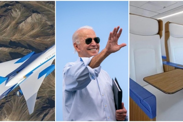 US President Joe Biden and the new supersonic Air Force One being developed by California-based company Exosonic. Photo: @joebiden/Instagram; Luxurylaunches