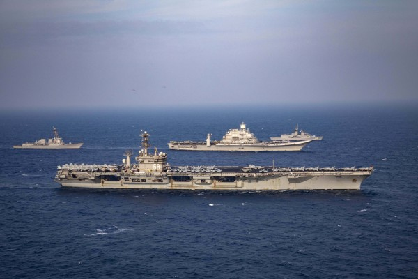 Aircraft carriers and warships from India, the US, Japan and Australia participate in the second phase of the Malabar naval exercise in November 2020. Photo: AP