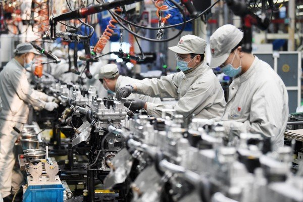China's first quarter economic growth rate is forecast to be above 20 per cent compared to a year earlier. Photo: Xinhua