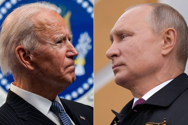 US President Joe Biden (left) and Russian President Vladimir Putin spoke during a call on Tuesday. Photo: TNS