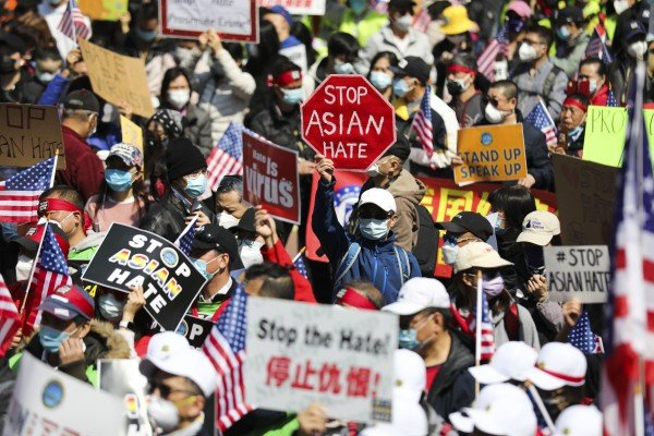 Protesters rally against anti-Asian hate crimes in New York on April 4. Photo: Xinhua