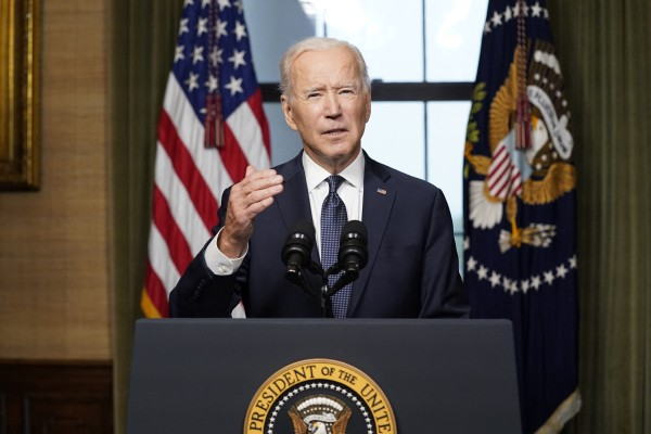 US President Joe Biden speaks at the White House on Wednesday about the withdrawal of remaining US troops from Afghanistan. Photo: TNS