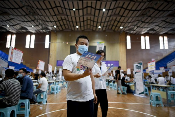 In the first quarter, China's official surveyed unemployment rate was 5.4 per cent, down 0.4 percentage points from a year earlier. Photo: AFP