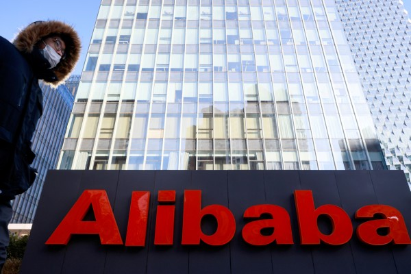 The logo of Alibaba, which was hit with a record fine by China's central regulators this month, is seen at its office in Beijing on January 5, 2021. Photo: Reuters