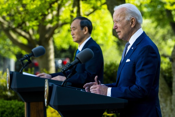 Prime Minister of Japan Yoshihide Suga and US President Joe Biden during a joint news conference at the White House in Washington on Friday. Photo: EPA-EFE