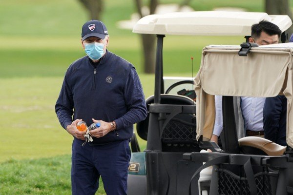 US President Joe Biden finishes a round of golf in Wilmington, Delaware,  on Saturday. Photo: Reuters