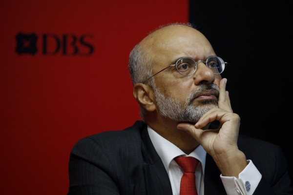 Piyush Gupta, the CEO of DBS. Singapore's largest bank plans to invest in Shenzhen Rural Commercial Bank as it makes a bet on future growth in the Greater Bay Area. Photo: Reuters