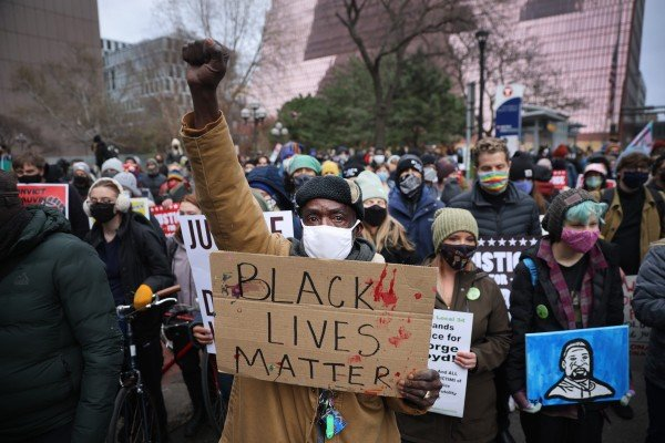 Demonstrators protest near the Hennepin County Courthouse on Monday in Minneapolis, Minnesota. Photo: AFP