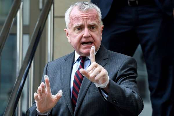 US Ambassador to Russia John Sullivan speaks to the press outside the Moscow City Court in June 2020. Photo: AFP
