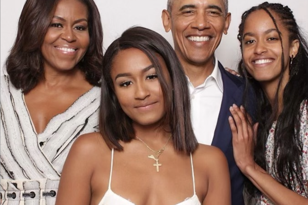 Sasha Obama (front left) with her famous family – so is she the coolest of them all? Photo: @barackobama/Instagram
