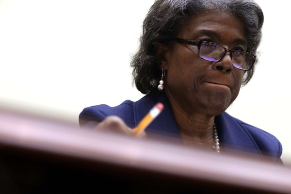 US ambassador to the United Nations Linda Thomas-Greenfield testifies during a hearing before the House Foreign Affairs Committee in Washington on Wednesday. Photo: Getty Images via AFP