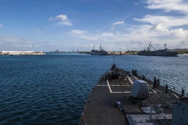 A US Navy guided-missile destroyer docked in Apre Harbour, Guam. File photo: US Navy via AFP