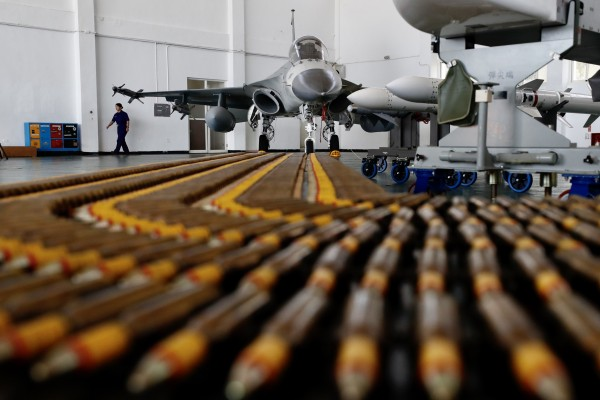 Taiwan's Air Force Indigenous Defense Fighter (IDF) jets inside a hangar at a military base in Penghu island, Taiwan in September 2020. Photo: EPA-EFE