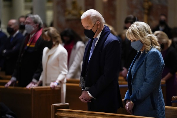 US President Joe Biden and his wife Jill attend Mass at the Cathedral of St Matthew the Apostle.in Washington DC. Photo: AP