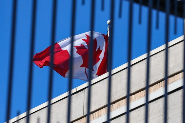 A Canadian flag flies at the Canadian embassy in Beijing in January 2019. A group of Canadian lawmakers recently joined a grouping aimed at strengthening ties with Taiwan, in a move that's sure to irk Beijing. Photo: EPA-EFE