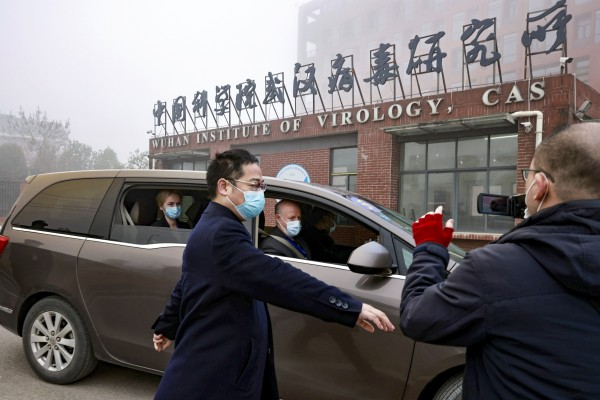 Peter Daszak, the head of EcoHealth Alliance, and other members of the WHO team tasked with investigating the origins of the coronavirus sit in a car arriving at the Wuhan Institute of Virology. Photo: Reuters