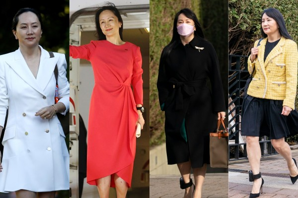 During her detention in Canada, Huawei CFO Meng Wanzhou ditched the hoodies and trainers for stylish looks by designer labels. Photos: Reuters, AP, The Canadian Press