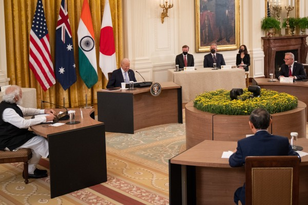 US President Joe Biden hosts a Quad leaders' summit with (anticlockwise, from the left) Indian Prime Minister Narendra Modi, Japan's Prime Minister Yoshihide Suga and Australian Prime Minister Scott Morrison, in the East Room at the White House in Washington on September 24. US-led initiatives may add fuel to China's victim-playing. Photo: EPA-EFE