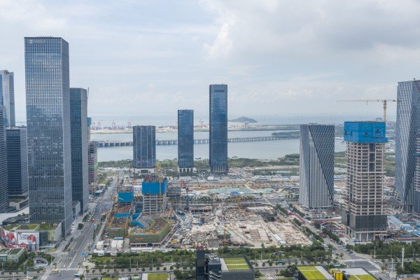 A construction site for a Qianhai transaction centre in Shenzhen on September 8. Beijing has an ambitious plan to expand Qianhai and integrate it with Hong Kong. Photo: Xinhua