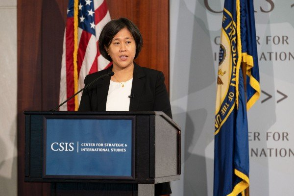 US Trade Representative Katherine Tai speaks at the Center for Strategic and International Studies in Washington on October 4. She failed to dispel concerns that the US might launch a probe into Chinese industrial subsidies, which could lead to more tariffs. Photo: Bloomberg