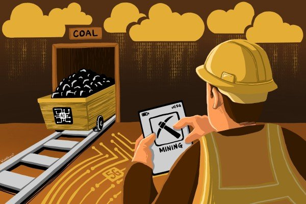 China's coal mining industry, long known for dirty and dangerous working conditions, is set for a massive digital transformation, as Big Tech companies push the adoption of automation with key technologies such as 5G, cloud computing, artificial intelligence and Internet of Things. Illustration by Lau Ka-kuen