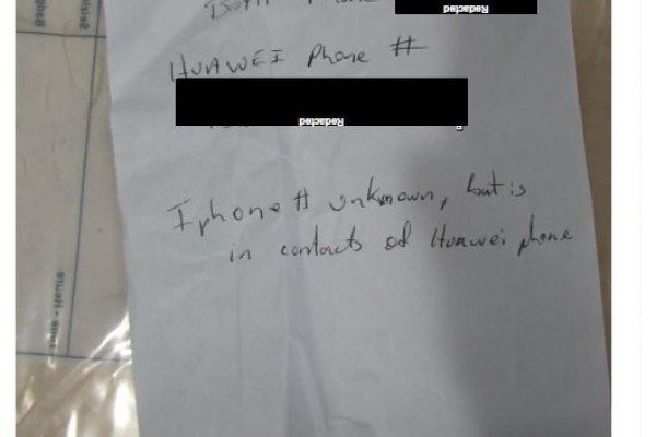 The handwritten note of Meng Wanzhou's phone passcodes provided by Canadian border officer Scott Kirkland to Canadian police on the day of her arrest, in breach of privacy laws. Photo: Supreme Court of British Columbia
