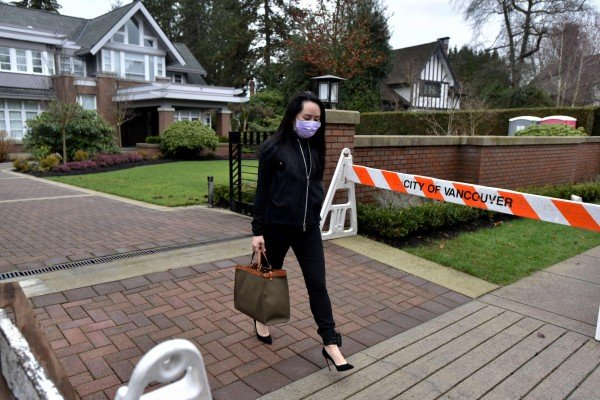 Huawei Technologies executive Meng Wanzhou leaves her home in the Vancouver neighbourhood of Shaughnessy to attend a court hearing on January 29. Photo: AFP