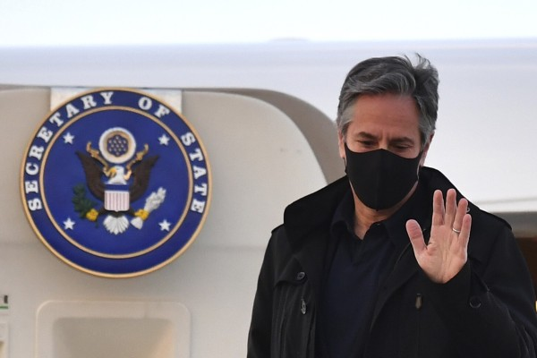 US Secretary of State Antony Blinken arrived in London on Sunday for a G7 foreign ministers meeting where China is one of the issues on the agenda. Photo: AP